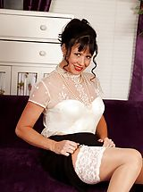 Senior chick Elise Summers wearing only white nylons.