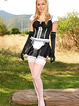 Stockings Pics: Sexy french maid decides to relax and takes off her uniform.