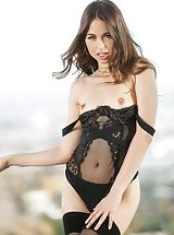 Yellow High Heels, Riley Reid, Jenna Sativa Sinful Wife reveals her bare fun bags, draws down her lingerie and spreads her limbs and hand fucks her moist cunt