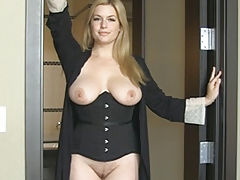 Naked Wife Danielle Cum Hither shows her uncovered fun bags, draws down her under garments and opens her thighs and masturbates her tight-fitting slit