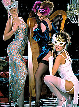 It's a masquerade ball with young lovelies Felecia Danay, Julia Hayes, and Sara St. James.