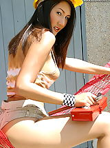 Asian Women sharon 05 construction toolbox puffy nipples