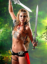 Sexy Secretaries, Sexy topless blonde amazon babe posing with two swords and masturbates