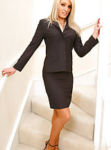 Gorgeous Emma Claire in ther lovely secretary suit with pantyhose on Non Nude