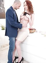 Molly Quinn, Andrew Marshall in anal, cock sucking, large dick, large tits, redhead, one on one, cumshot, natural breasts