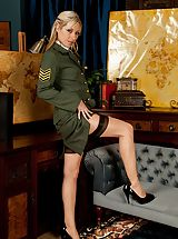 High Heel Boot, Golden-haired milf Sophie Kaye unclothes off sexy army uniform.