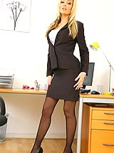 Secretaries, Beauty secretary in miniskirt and satin lingerie.