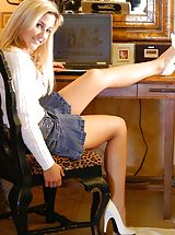 White Heels, Lia 19 gets naughty at her desk