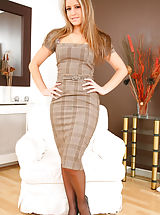 Naughty Office, Beautiful blonde in smart checkered dress and light lingerie. Non Nude