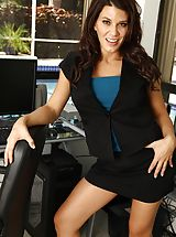 Large Boobed MILF Leena Sky gets bum undressed on the office desk.