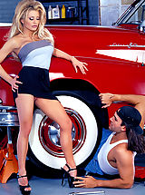 White High Heels, Alex Taylor takes her vintage car for a tune up and gets herself well serviced as well at no extra charge.
