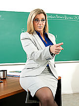 Busty Secretary, Sara Jay shows her student what it's like to fuck a teacher with huge tits.