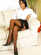 Spike Heels, Sultry Sophie in secretary outfit with black stockings