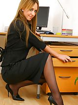 Naughty Office, Blonde secretary slips out of skirt and sexy lingerie. Non Nude