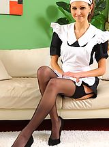 Black Heels, see this cheeky maid tease her way out of her uniform