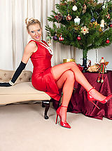 Spike Heels, Here's our kinky fully fashioned nyloned Xmas gift MILF for you!