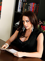 Sexy Secretary, Chanel Preston gets naughty with a client and fucks on her desk.