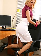 High Heels Legs, Blonde looks stunning in her office wearing a tight blouse and a tight long white skirt.